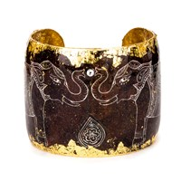 Evocateur Delhi Elephant Cuff Gold