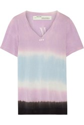 Off White Printed Tie Dyed Micro Modal T Shirt Lavender
