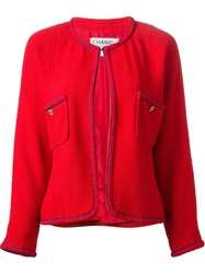 Chanel Vintage Classic Boucle Jacket Red