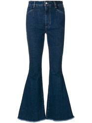 Dolce And Gabbana Flared Heart Motif Jeans Blue
