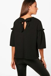 Boohoo Willow Frill Sleeve Bow Back Top Black