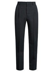 Christophe Lemaire Mid Rise Pleated Wool Twill Trousers Navy