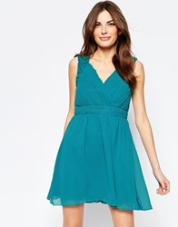 Little Mistress Skater Dress With Cut Out Back Blue