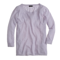 J.Crew Collection Featherweight Cashmere High Low Swing Sweater Hthr Lavender