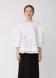 Simone Rocha Embroidered Cotton Dropped Sleeve Blouse White Red Pink White Red Pink
