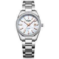 Rotary Lb05079 41 Women's Havana Date Bracelet Strap Watch Silver Mother Of Pearl