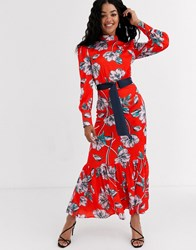 Liquorish Ruffle Hem Maxi Dress Victoriana Dress In Floral Red
