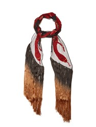 Rockins Snake Sequin Embellished Scarf Red