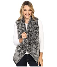 Dylan By True Grit Plush Faux Classic Silky Fur Draped Vest W Fur Lining Frosted Black Women's Vest