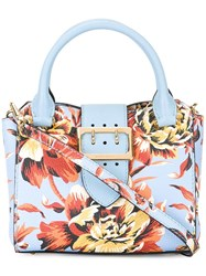 Burberry Floral Print Tote Blue