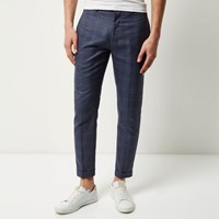River Island Mensblue Checked Skinny Cropped Pants