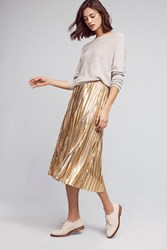 Anthropologie Eclat Midi Skirt Gold