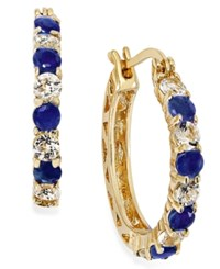 Macy's Midnight Sapphire 1 1 5 Ct. Tw. And White Topaz 1 1 10 Ct. T.W. Hoop Earrings In 18K Gold Over Sterling Silver 23Mm No Color