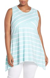 Plus Size Women's Two By Vince Camuto Multi Stripe Sleeveless Shark Bite Hem Tank Pale Turquoise