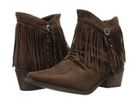 Roper Fringy Faux Brown Leather Women's Boots