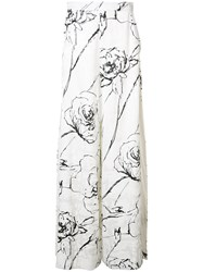 Christian Siriano Side Slit Palazzo Pants Women Silk Viscose Crepe 10 White