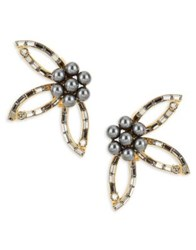 Oscar De La Renta Faux Pearl And Stone Accented Floral Clip On Earrings Black