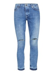 Topman Light Wash Blue Ripped Raw Edge Spray On Skinny Jeans