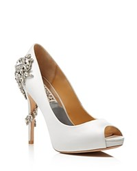 Badgley Mischka Royal Embellished Peep Toe High Heel Pumps White