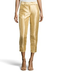 Halston Heritage Cropped Dupioni Ankle Pants Gold