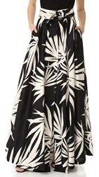 Milly Palm Print Jackie Maxi Skirt Black