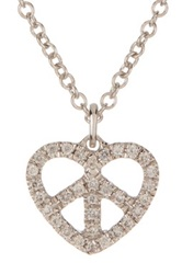 Bony Levy 18K White Gold Pave Diamond Peace Heart Pendant Necklace 0.07 Ctw Metallic