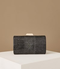 Reiss Hoxton Snake Skin Box Clutch In Teal