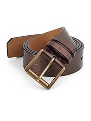Jimmy Choo Archer Leather Embossed Star Belt Copper