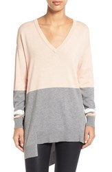 Women's Vince Camuto Colorblock V Neck Asymmetrical Sweater