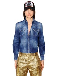 Dsquared Destroyed And Washed Cotton Denim Shirt