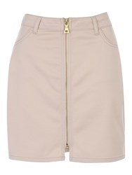 Jane Norman Zip Up Cargo Mini Skirt Stone