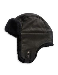 Ugg Shearling Lined Leather Flap Hat Black