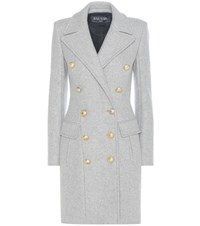 Balmain Virgin Wool And Cashmere Coat Grey