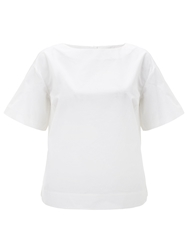 Adrianna Papell Short Flutter Sleeve Cotton Blouse White