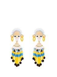 Etro Bead And Crystal Embellished Drop Earrings Yellow