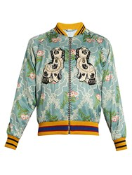 Gucci Spaniel And Bee Applique Jacquard Bomber Jacket Light Blue
