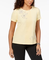 Alfred Dunner Charleston Embellished Lace Panel T Shirt Butter