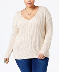 American Rag Trendy Plus Size Contrast Back Sweater Only At Macy's Oatmeal