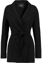Maje Belted Wool Blend Coat Black