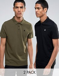 Asos 2 Pack Pique Embroidered Polo In Relaxed Skater Fit Multi