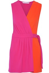 Diane Von Furstenberg Maeve Two Tone Crepe Wrap Playsuit Pink Orange