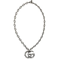 Gucci Silver Crystal Gg Necklace