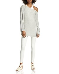 Halston Heritage Silk And Cashmere Slouchy Sweater Light Heather Gray