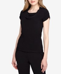 Tahari By Arthur S. Levine Asl Short Sleeve Draped Ruched Top Black