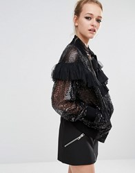 Sister Jane Sequin Ruffle Bomber Jacket Black