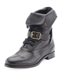 Chloe Otto Lace Up Buckle Ankle Boot Black