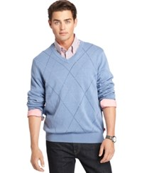 Izod Argyle V Neck Sweater Colony Blue