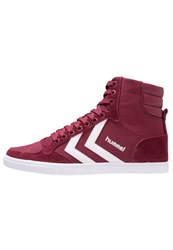 Hummel Slimmer Stadil Hightop Trainers Red Bordeaux