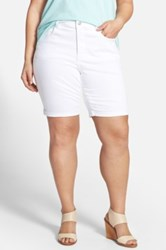 Nydj 'Briella' Roll Cuff Stretch Denim Shorts Plus Size White
