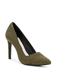 Alice Olivia Dina Studded Suede Point Toe Pumps Moss